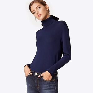 NEW TORY BURCH Candace Ribbed Turtleneck, Navy